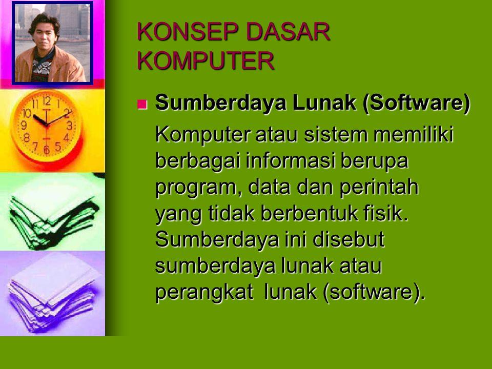 KONSEP DASAR KOMPUTER Sumberdaya Lunak (Software) Sumberdaya Lunak (Software) Komputer atau sistem memiliki berbagai informasi berupa program, data da