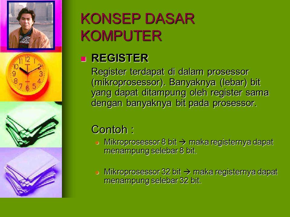 KONSEP DASAR KOMPUTER REGISTER REGISTER Register terdapat di dalam prosessor (mikroprosessor). Banyaknya (lebar) bit yang dapat ditampung oleh registe