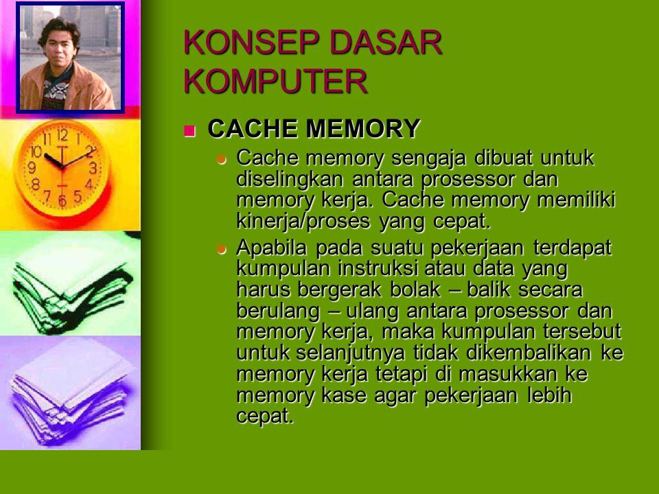 KONSEP DASAR KOMPUTER CACHE MEMORY CACHE MEMORY Cache memory sengaja dibuat untuk diselingkan antara prosessor dan memory kerja. Cache memory memiliki