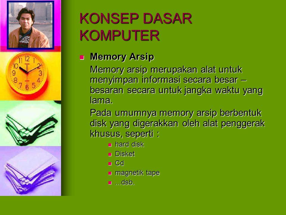 KONSEP DASAR KOMPUTER Memory Arsip Memory Arsip Memory arsip merupakan alat untuk menyimpan informasi secara besar – besaran secara untuk jangka waktu