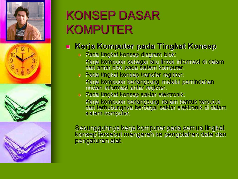 KONSEP DASAR KOMPUTER Sumberdaya pada Komputer Sumberdaya pada Komputer Hardware (sumberdaya keras / perangkat keras) Hardware (sumberdaya keras / perangkat keras) Software (sumberdaya lunak / perangkat lunak) Software (sumberdaya lunak / perangkat lunak) Firmware (sumberdaya tegar / perangkat tegar) Firmware (sumberdaya tegar / perangkat tegar)