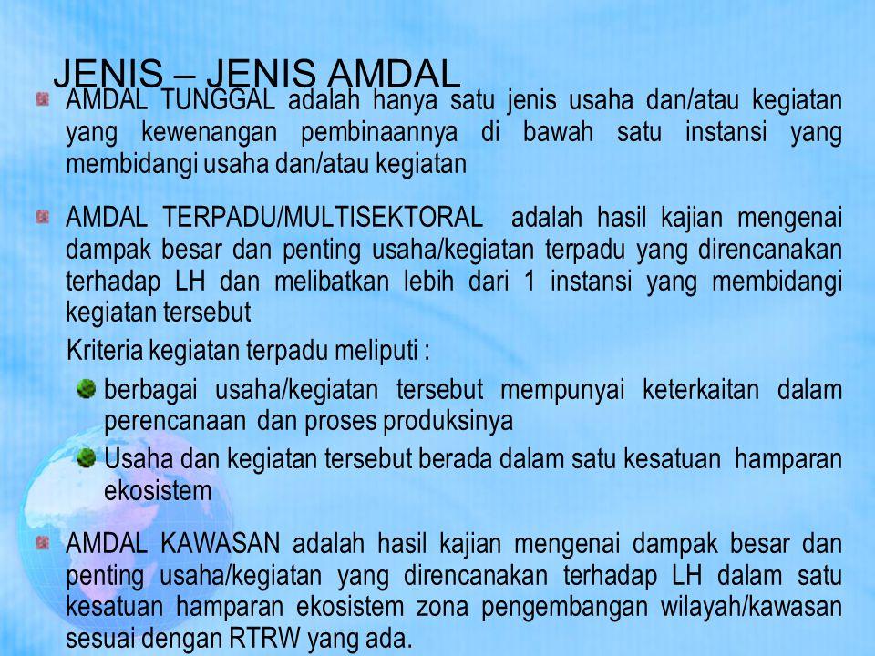 JENIS – JENIS AMDAL AMDAL TUNGGAL adalah hanya satu jenis usaha dan/atau kegiatan yang kewenangan pembinaannya di bawah satu instansi yang membidangi