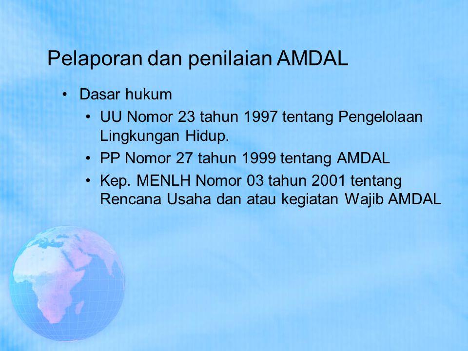 Pelaporan dan penilaian AMDAL Dasar hukum UU Nomor 23 tahun 1997 tentang Pengelolaan Lingkungan Hidup. PP Nomor 27 tahun 1999 tentang AMDAL Kep. MENLH