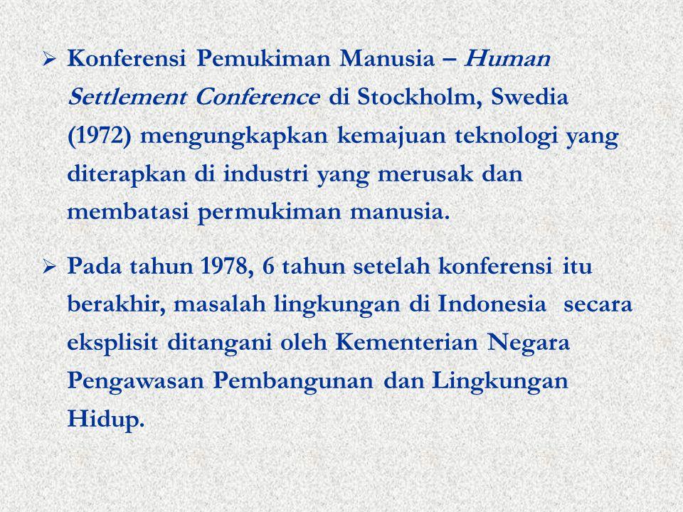  Konferensi Pemukiman Manusia – Human Settlement Conference di Stockholm, Swedia (1972) mengungkapkan kemajuan teknologi yang diterapkan di industri yang merusak dan membatasi permukiman manusia.