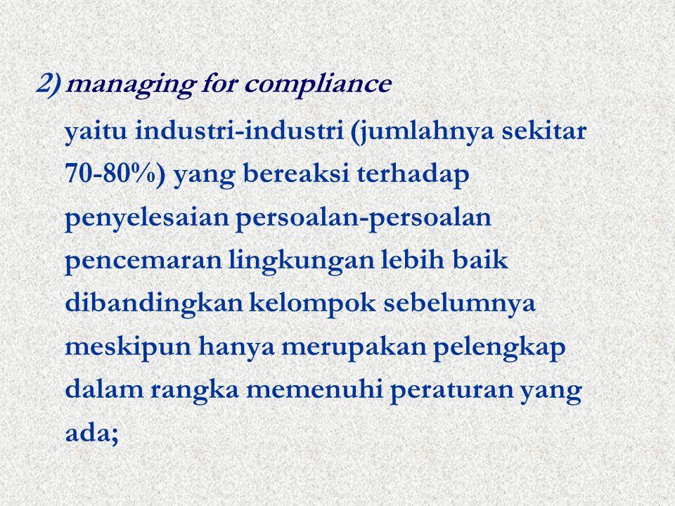 2)managing for compliance yaitu industri-industri (jumlahnya sekitar 70-80%) yang bereaksi terhadap penyelesaian persoalan-persoalan pencemaran lingkungan lebih baik dibandingkan kelompok sebelumnya meskipun hanya merupakan pelengkap dalam rangka memenuhi peraturan yang ada;