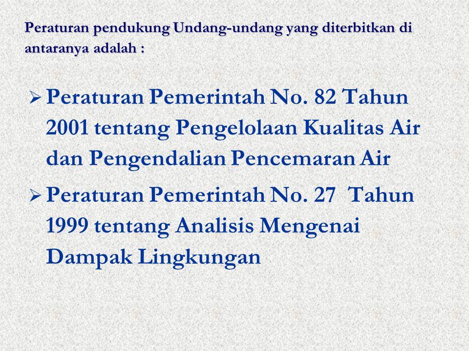 Peraturan pendukung Undang-undang yang diterbitkan di antaranya adalah :  Peraturan Pemerintah No.