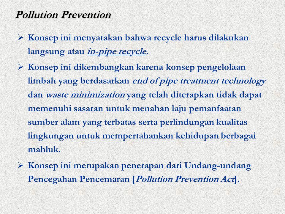 Pollution Prevention  Konsep ini menyatakan bahwa recycle harus dilakukan langsung atau in-pipe recycle.