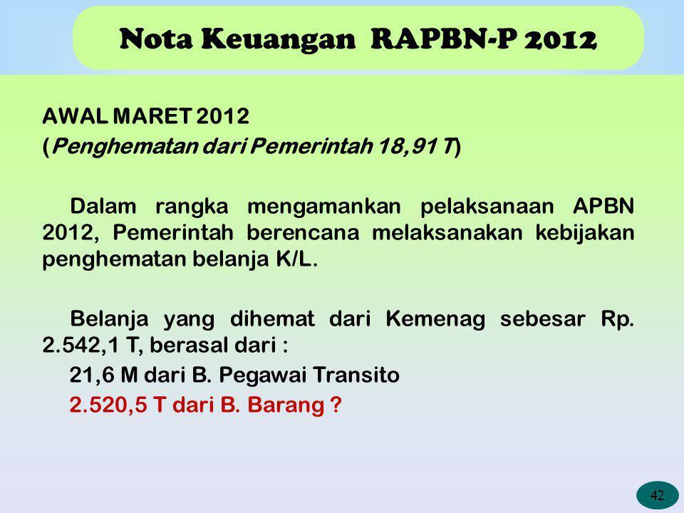 Nota Keuangan RAPBN-P 2012 AWAL MARET 2012 (Penghematan dari Pemerintah 18,91 T) Dalam rangka mengamankan pelaksanaan APBN 2012, Pemerintah berencana melaksanakan kebijakan penghematan belanja K/L.
