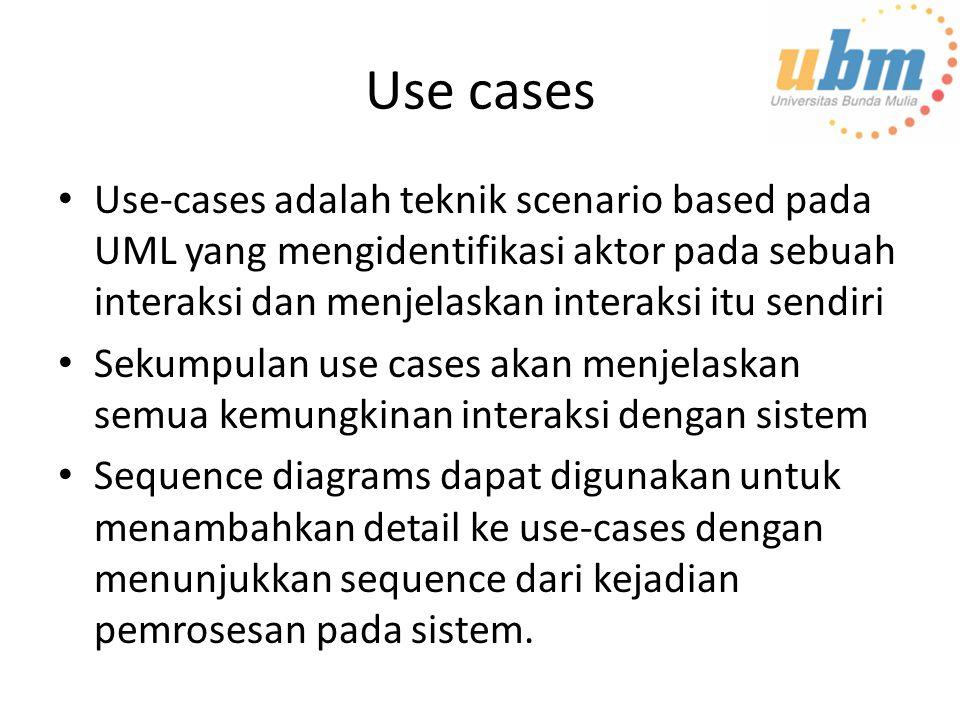 Use cases Use-cases adalah teknik scenario based pada UML yang mengidentifikasi aktor pada sebuah interaksi dan menjelaskan interaksi itu sendiri Sekumpulan use cases akan menjelaskan semua kemungkinan interaksi dengan sistem Sequence diagrams dapat digunakan untuk menambahkan detail ke use-cases dengan menunjukkan sequence dari kejadian pemrosesan pada sistem.