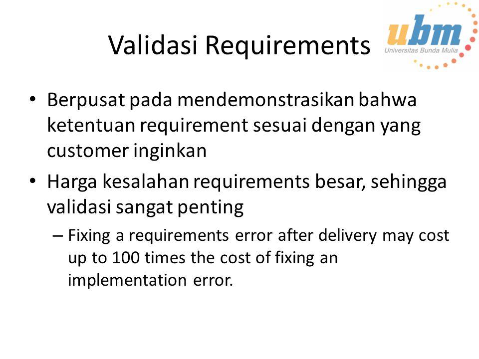 Validasi Requirements Berpusat pada mendemonstrasikan bahwa ketentuan requirement sesuai dengan yang customer inginkan Harga kesalahan requirements be