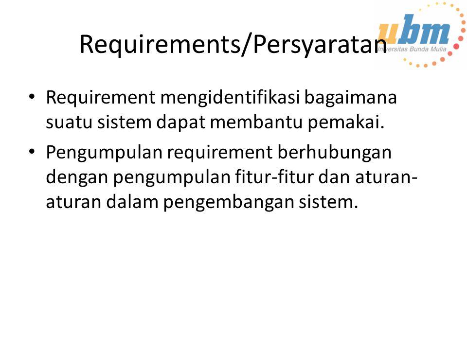 Requirements/Persyaratan Requirement mengidentifikasi bagaimana suatu sistem dapat membantu pemakai. Pengumpulan requirement berhubungan dengan pengum