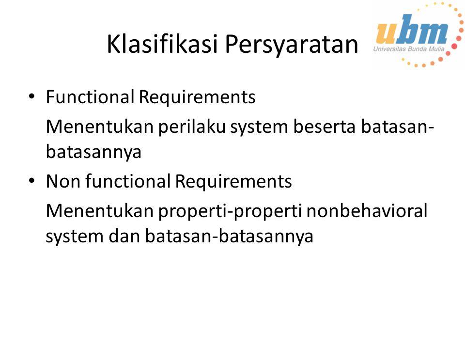 Klasifikasi Persyaratan Functional Requirements Menentukan perilaku system beserta batasan- batasannya Non functional Requirements Menentukan properti