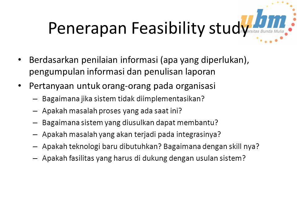 Penerapan Feasibility study Berdasarkan penilaian informasi (apa yang diperlukan), pengumpulan informasi dan penulisan laporan Pertanyaan untuk orang-