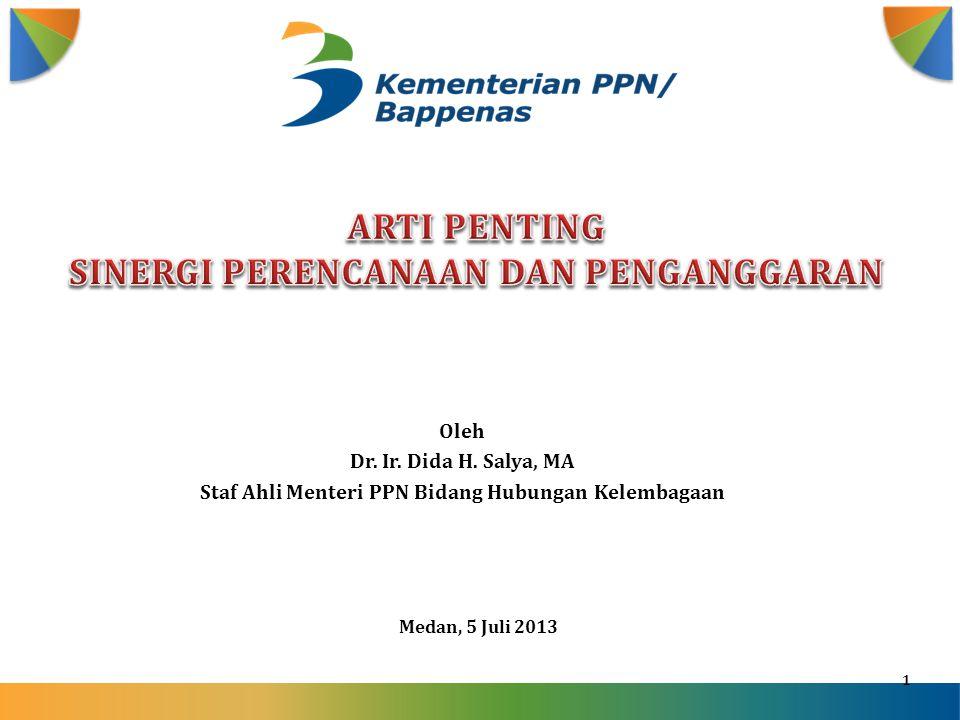 1 Medan, 5 Juli 2013 Oleh Dr. Ir. Dida H. Salya, MA Staf Ahli Menteri PPN Bidang Hubungan Kelembagaan