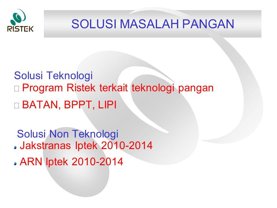 SOLUSI MASALAH PANGAN Solusi Teknologi  Program Ristek terkait teknologi pangan  BATAN, BPPT, LIPI Solusi Non Teknologi Jakstranas Iptek 2010-2014 ARN Iptek 2010-2014