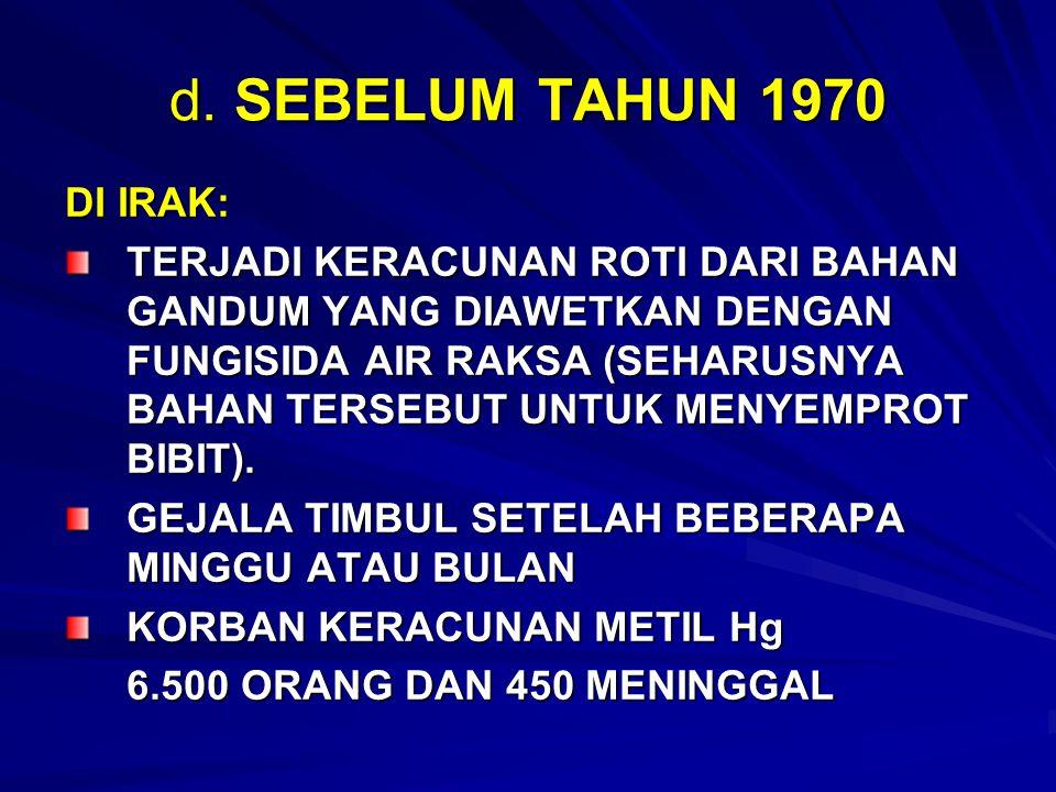 d. SEBELUM TAHUN 1970 DI IRAK: TERJADI KERACUNAN ROTI DARI BAHAN GANDUM YANG DIAWETKAN DENGAN FUNGISIDA AIR RAKSA (SEHARUSNYA BAHAN TERSEBUT UNTUK MEN