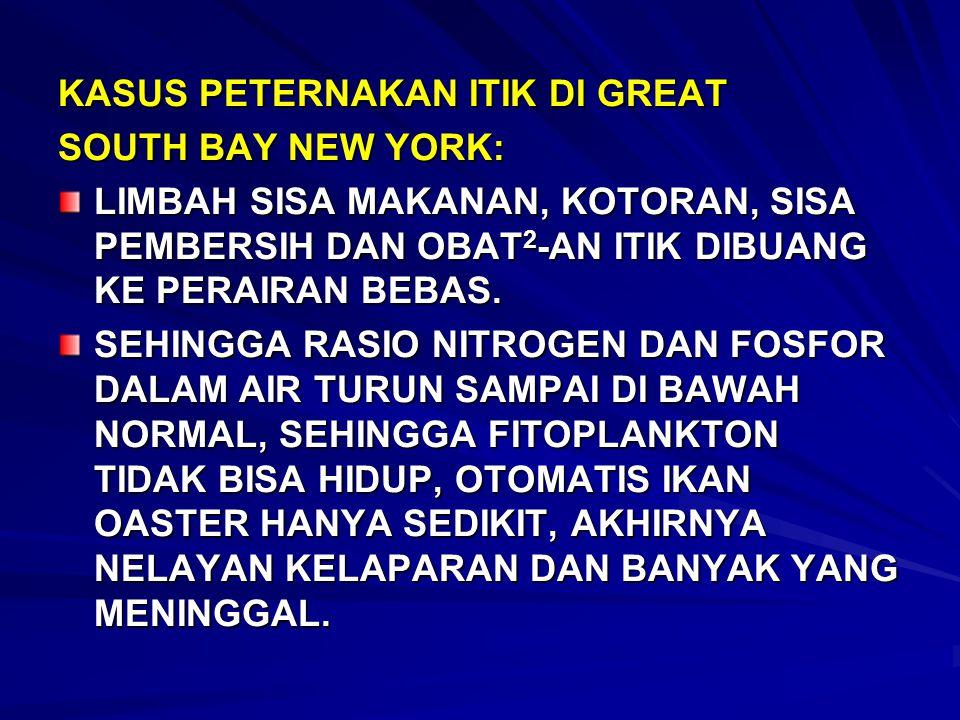 KASUS PETERNAKAN ITIK DI GREAT SOUTH BAY NEW YORK: LIMBAH SISA MAKANAN, KOTORAN, SISA PEMBERSIH DAN OBAT 2 -AN ITIK DIBUANG KE PERAIRAN BEBAS. SEHINGG