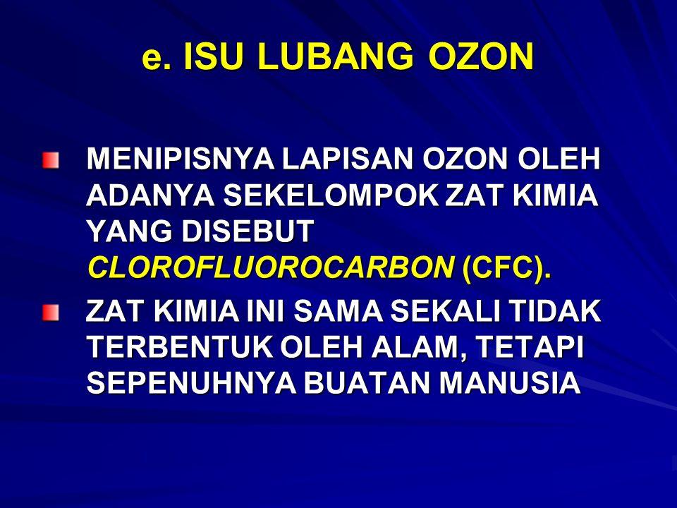 e. ISU LUBANG OZON MENIPISNYA LAPISAN OZON OLEH ADANYA SEKELOMPOK ZAT KIMIA YANG DISEBUT CLOROFLUOROCARBON (CFC). ZAT KIMIA INI SAMA SEKALI TIDAK TERB