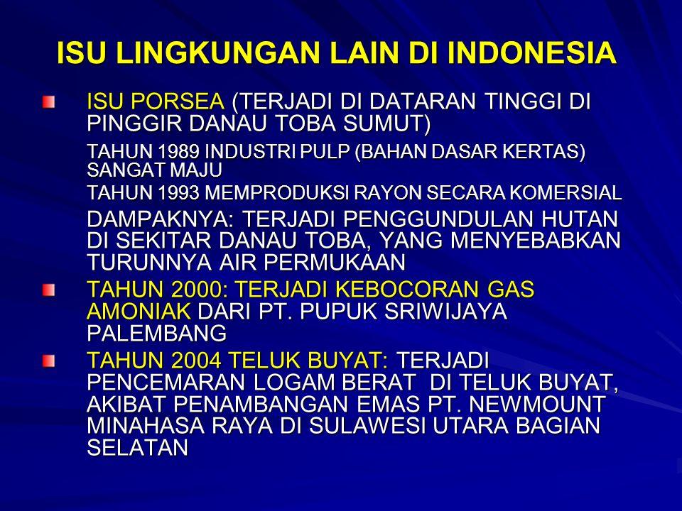 ISU LINGKUNGAN LAIN DI INDONESIA ISU PORSEA (TERJADI DI DATARAN TINGGI DI PINGGIR DANAU TOBA SUMUT) TAHUN 1989 INDUSTRI PULP (BAHAN DASAR KERTAS) SANG