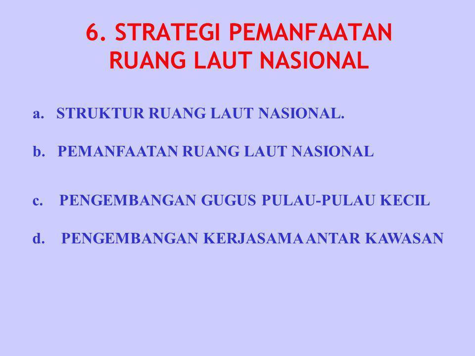 6. STRATEGI PEMANFAATAN RUANG LAUT NASIONAL a.STRUKTUR RUANG LAUT NASIONAL. b. PEMANFAATAN RUANG LAUT NASIONAL c. PENGEMBANGAN GUGUS PULAU-PULAU KECIL