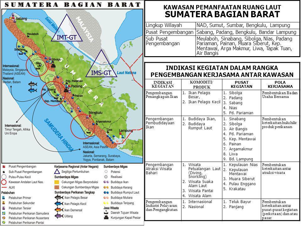 KAWASAN PEMANFAATAN RUANG LAUT SUMATERA BAGIAN BARAT Lingkup WilayahNAD, Sumut, Sumbar, Bengkulu, Lampung Pusat PengembanganSabang, Padang, Bengkulu,