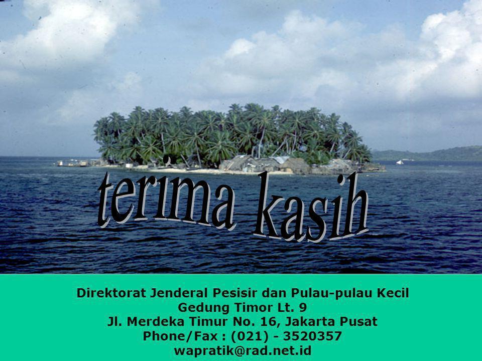 Direktorat Jenderal Pesisir dan Pulau-pulau Kecil Gedung Timor Lt. 9 Jl. Merdeka Timur No. 16, Jakarta Pusat Phone/Fax : (021) - 3520357 wapratik@rad.
