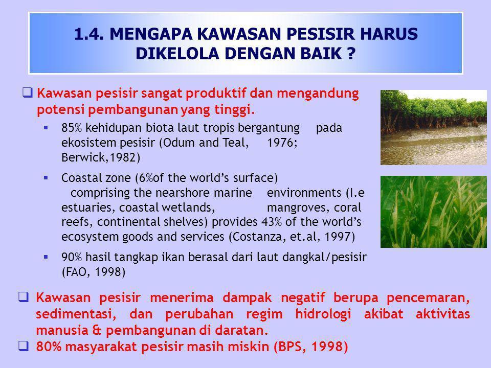  Kawasan pesisir merupakan multiple-use zone : - Kemudahan akses transportasi -Lahan darat dan perairan yang subur -Relatif mudah dan murah sebagai pembuangan limbah water cooling -Kemudahan akses mendapatkan water cooling untuk industri -Keindahan Panorama Oleh karena itu :  50%-70% dari jumlah penduduk dunia (5,3 milyar) tinggal di kawasan pesisir (Edgren, 1993)  2/3 kota-kota besar dunia terdapat di wilayah pesisir (Cicin-Sain dan Knecht, 1998) Lanjutan…
