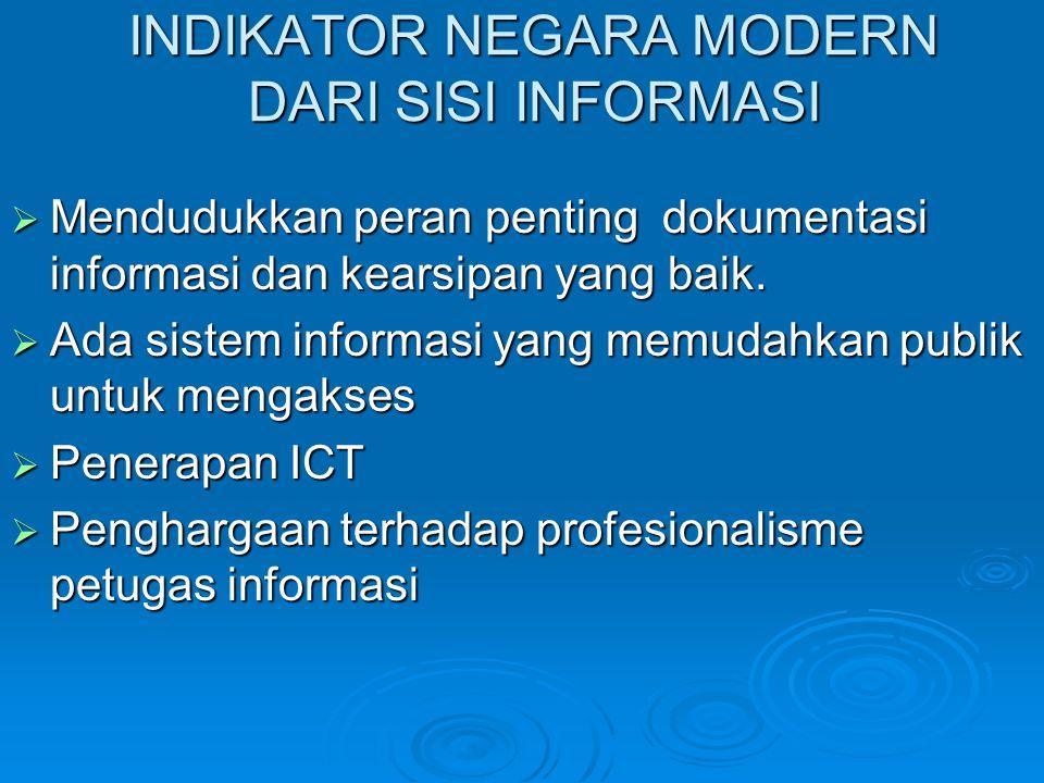 INDIKATOR NEGARA MODERN DARI SISI INFORMASI  Mendudukkan peran penting dokumentasi informasi dan kearsipan yang baik.