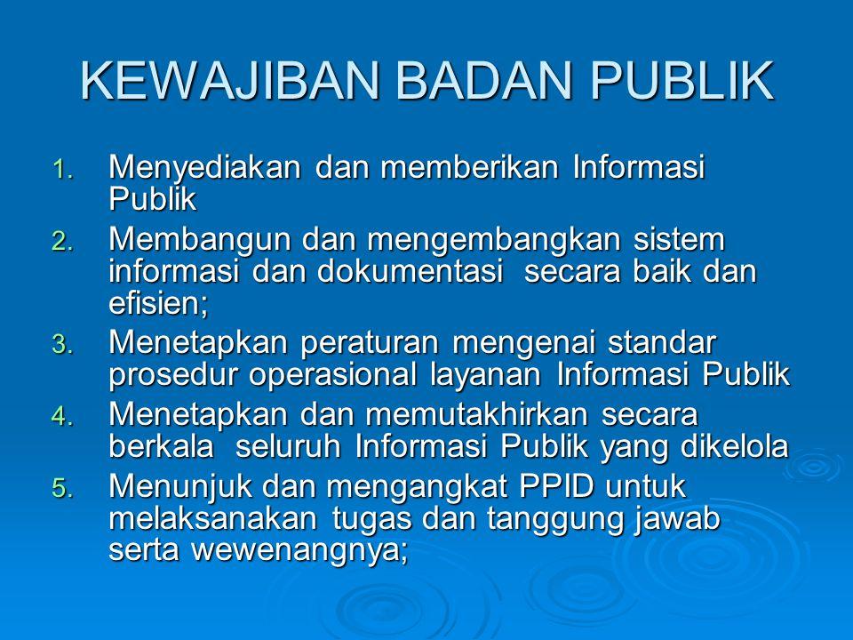 KEWAJIBAN BADAN PUBLIK 1.Menyediakan dan memberikan Informasi Publik 2.