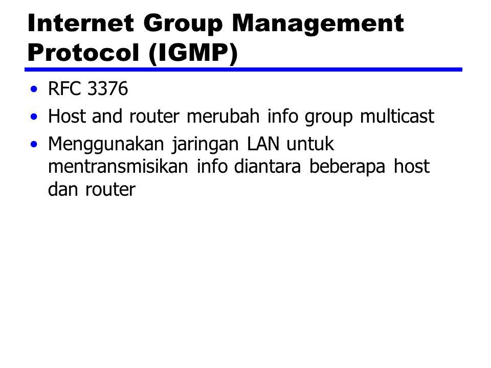 Internet Group Management Protocol (IGMP) RFC 3376 Host and router merubah info group multicast Menggunakan jaringan LAN untuk mentransmisikan info diantara beberapa host dan router