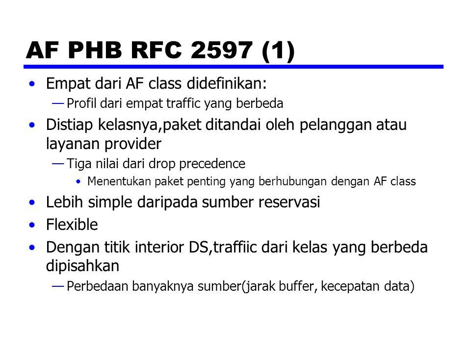 AF PHB RFC 2597 (1) Empat dari AF class didefinikan: —Profil dari empat traffic yang berbeda Distiap kelasnya,paket ditandai oleh pelanggan atau layanan provider —Tiga nilai dari drop precedence Menentukan paket penting yang berhubungan dengan AF class Lebih simple daripada sumber reservasi Flexible Dengan titik interior DS,traffiic dari kelas yang berbeda dipisahkan —Perbedaan banyaknya sumber(jarak buffer, kecepatan data)