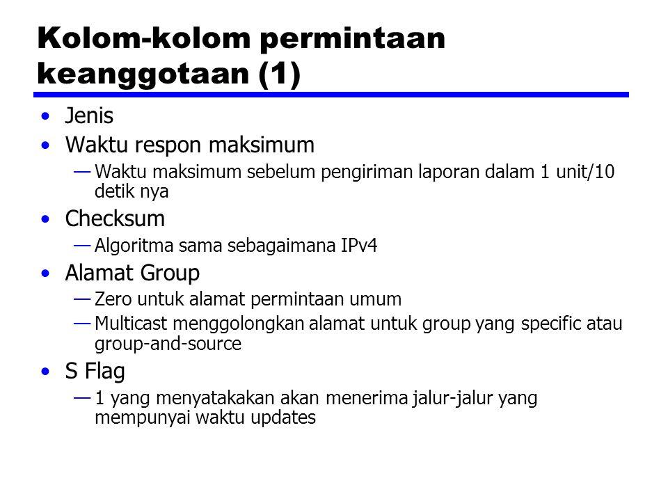 Kolom-kolom permintaan keanggotaan (1) Jenis Waktu respon maksimum —Waktu maksimum sebelum pengiriman laporan dalam 1 unit/10 detik nya Checksum —Algoritma sama sebagaimana IPv4 Alamat Group —Zero untuk alamat permintaan umum —Multicast menggolongkan alamat untuk group yang specific atau group-and-source S Flag —1 yang menyatakakan akan menerima jalur-jalur yang mempunyai waktu updates