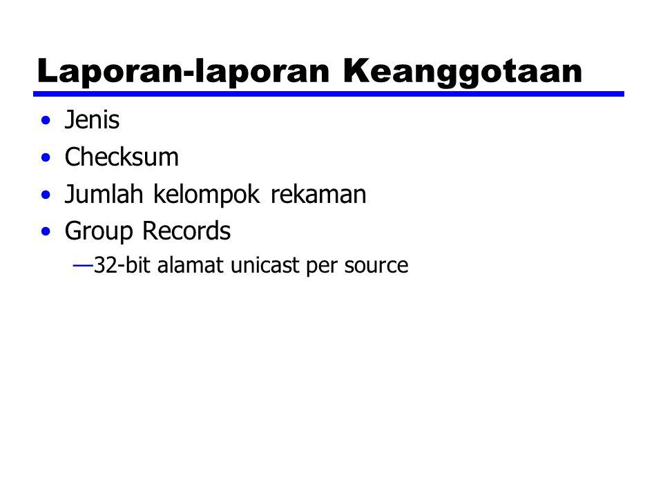 Laporan-laporan Keanggotaan Jenis Checksum Jumlah kelompok rekaman Group Records —32-bit alamat unicast per source