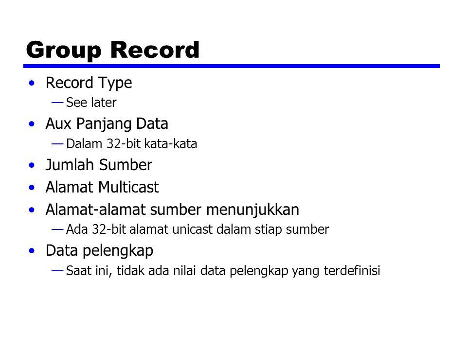 Group Record Record Type —See later Aux Panjang Data —Dalam 32-bit kata-kata Jumlah Sumber Alamat Multicast Alamat-alamat sumber menunjukkan —Ada 32-bit alamat unicast dalam stiap sumber Data pelengkap —Saat ini, tidak ada nilai data pelengkap yang terdefinisi
