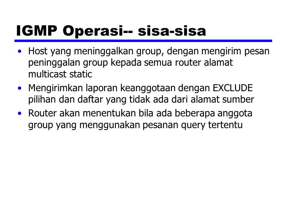 IGMP Operasi-- sisa-sisa Host yang meninggalkan group, dengan mengirim pesan peninggalan group kepada semua router alamat multicast static Mengirimkan laporan keanggotaan dengan EXCLUDE pilihan dan daftar yang tidak ada dari alamat sumber Router akan menentukan bila ada beberapa anggota group yang menggunakan pesanan query tertentu