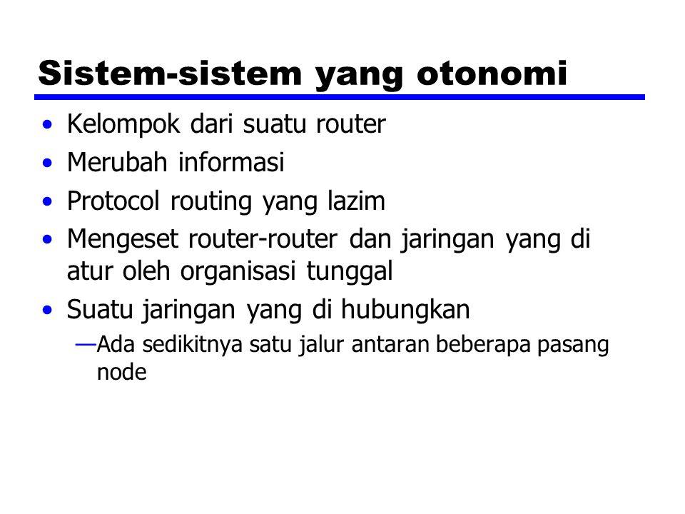 Sistem-sistem yang otonomi Kelompok dari suatu router Merubah informasi Protocol routing yang lazim Mengeset router-router dan jaringan yang di atur oleh organisasi tunggal Suatu jaringan yang di hubungkan —Ada sedikitnya satu jalur antaran beberapa pasang node