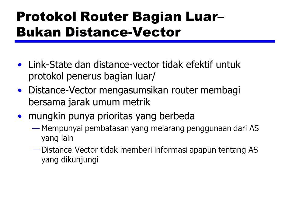 Protokol Router Bagian Luar– Bukan Distance-Vector Link-State dan distance-vector tidak efektif untuk protokol penerus bagian luar/ Distance-Vector mengasumsikan router membagi bersama jarak umum metrik mungkin punya prioritas yang berbeda —Mempunyai pembatasan yang melarang penggunaan dari AS yang lain —Distance-Vector tidak memberi informasi apapun tentang AS yang dikunjungi