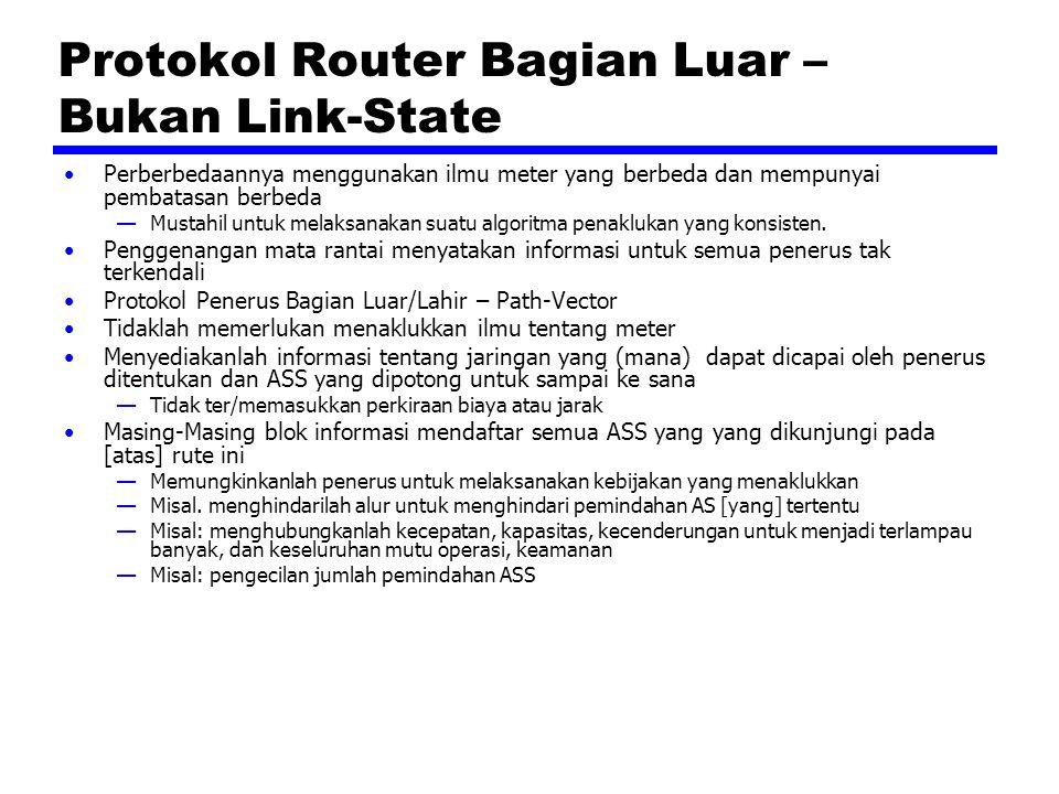 Protokol Router Bagian Luar – Bukan Link-State Perberbedaannya menggunakan ilmu meter yang berbeda dan mempunyai pembatasan berbeda —Mustahil untuk melaksanakan suatu algoritma penaklukan yang konsisten.