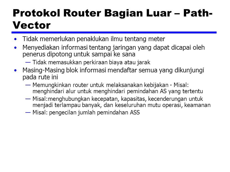 Protokol Router Bagian Luar – Path- Vector Tidak memerlukan penaklukan ilmu tentang meter Menyediakan informasi tentang jaringan yang dapat dicapai oleh penerus dipotong untuk sampai ke sana —Tidak memasukkan perkiraan biaya atau jarak Masing-Masing blok informasi mendaftar semua yang dikunjungi pada rute ini —Memungkinkan router untuk melaksanakan kebijakan - Misal: menghindari alur untuk menghindari pemindahan AS yang tertentu —Misal:menghubungkan kecepatan, kapasitas, kecenderungan untuk menjadi terlampau banyak, dan keseluruhan mutu operasi, keamanan —Misal: pengecilan jumlah pemindahan ASS