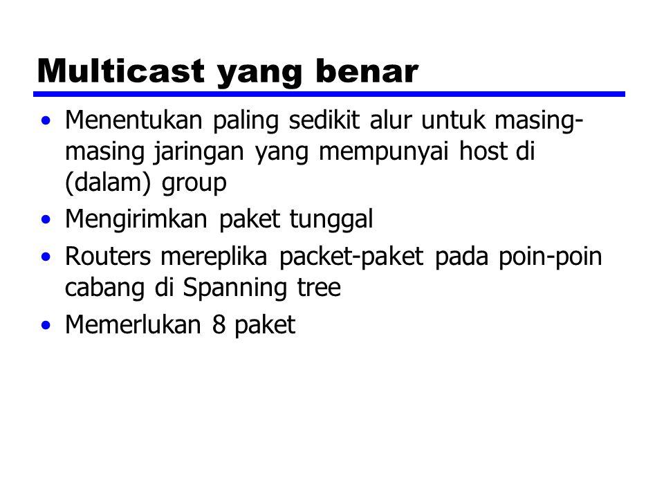 Multicast yang benar Menentukan paling sedikit alur untuk masing- masing jaringan yang mempunyai host di (dalam) group Mengirimkan paket tunggal Routers mereplika packet-paket pada poin-poin cabang di Spanning tree Memerlukan 8 paket