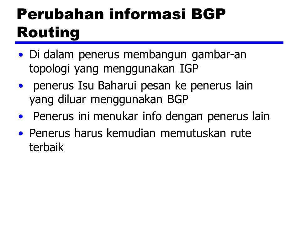 Perubahan informasi BGP Routing Di dalam penerus membangun gambar-an topologi yang menggunakan IGP penerus Isu Baharui pesan ke penerus lain yang diluar menggunakan BGP Penerus ini menukar info dengan penerus lain Penerus harus kemudian memutuskan rute terbaik