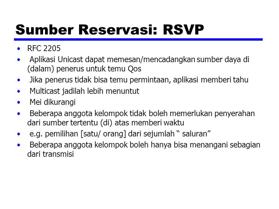 Sumber Reservasi: RSVP RFC 2205 Aplikasi Unicast dapat memesan/mencadangkan sumber daya di (dalam) penerus untuk temu Qos Jika penerus tidak bisa temu permintaan, aplikasi memberi tahu Multicast jadilah lebih menuntut Mei dikurangi Beberapa anggota kelompok tidak boleh memerlukan penyerahan dari sumber tertentu (di) atas memberi waktu e.g.