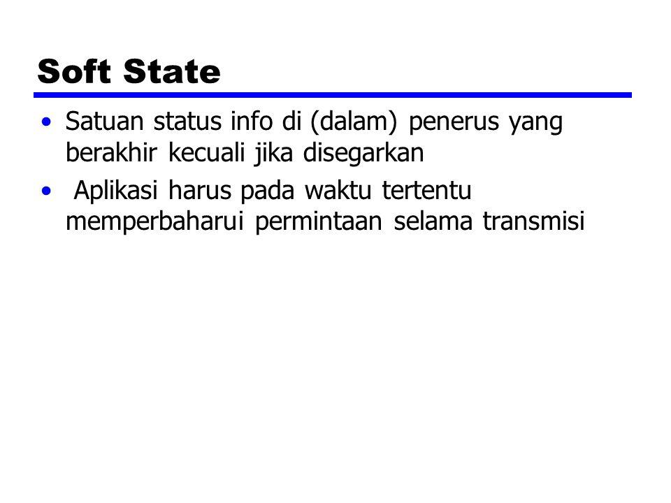 Soft State Satuan status info di (dalam) penerus yang berakhir kecuali jika disegarkan Aplikasi harus pada waktu tertentu memperbaharui permintaan selama transmisi