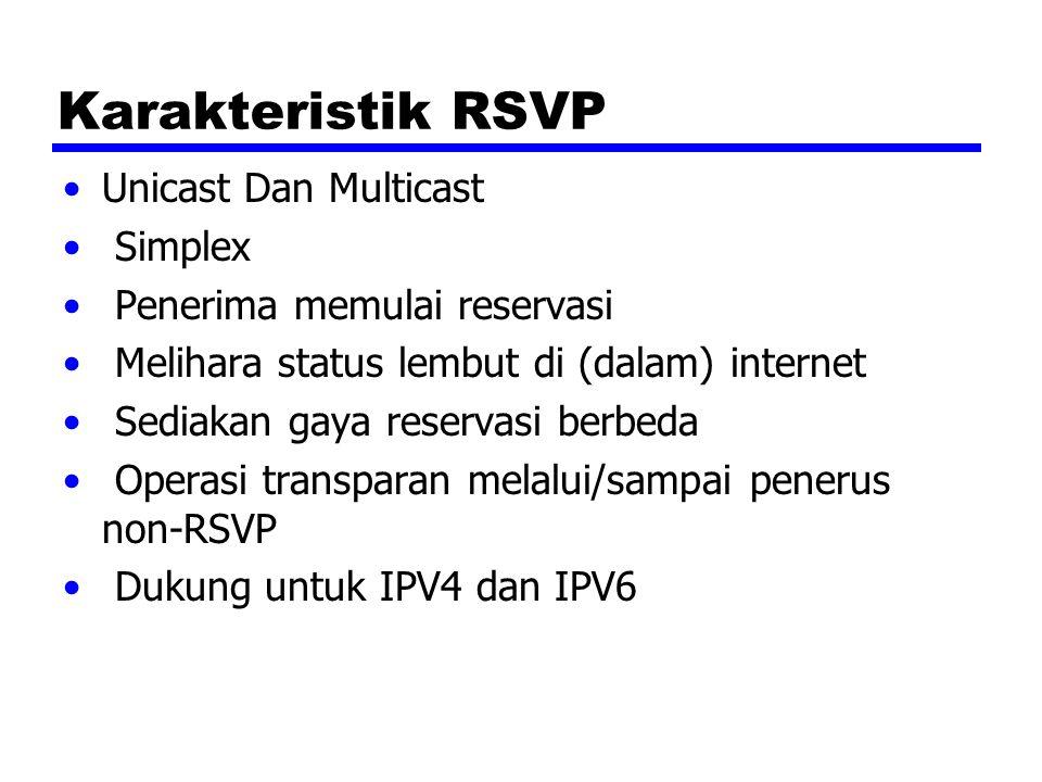 Karakteristik RSVP Unicast Dan Multicast Simplex Penerima memulai reservasi Melihara status lembut di (dalam) internet Sediakan gaya reservasi berbeda Operasi transparan melalui/sampai penerus non-RSVP Dukung untuk IPV4 dan IPV6