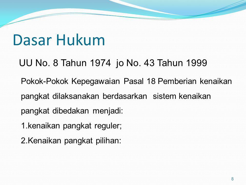 Dasar Hukum UU No. 8 Tahun 1974 jo No. 43 Tahun 1999 8 Pokok-Pokok Kepegawaian Pasal 18 Pemberian kenaikan pangkat dilaksanakan berdasarkan sistem ken