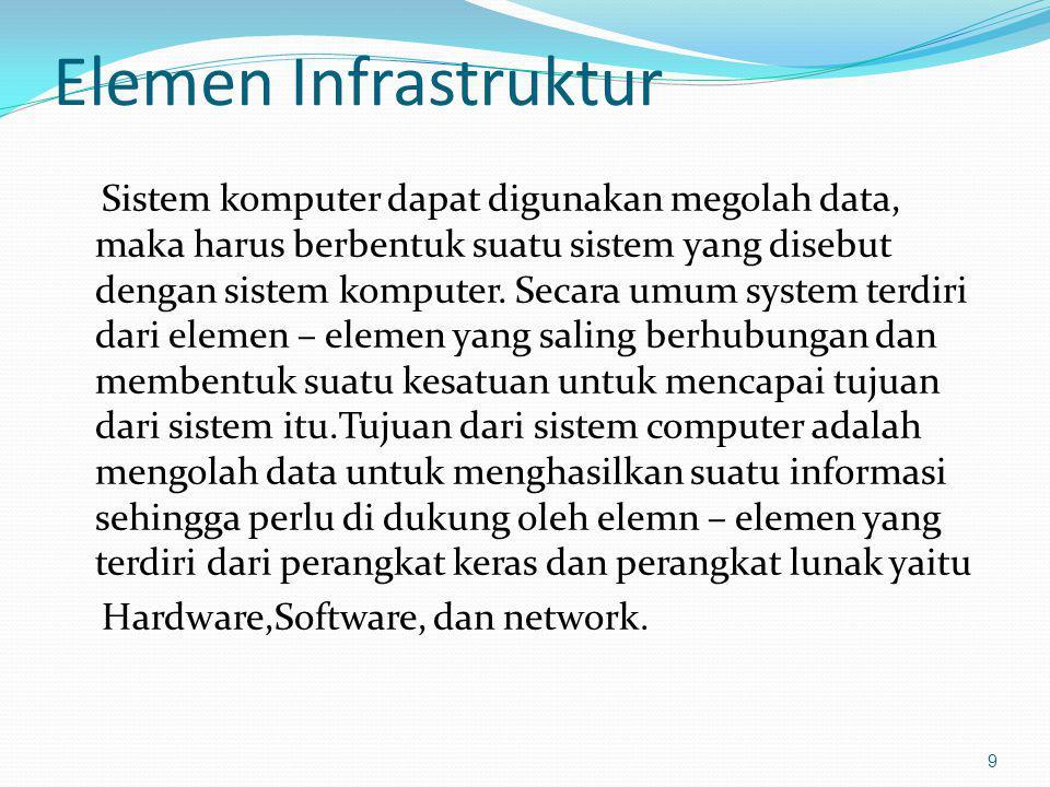 Elemen Infrastruktur Sistem komputer dapat digunakan megolah data, maka harus berbentuk suatu sistem yang disebut dengan sistem komputer. Secara umum
