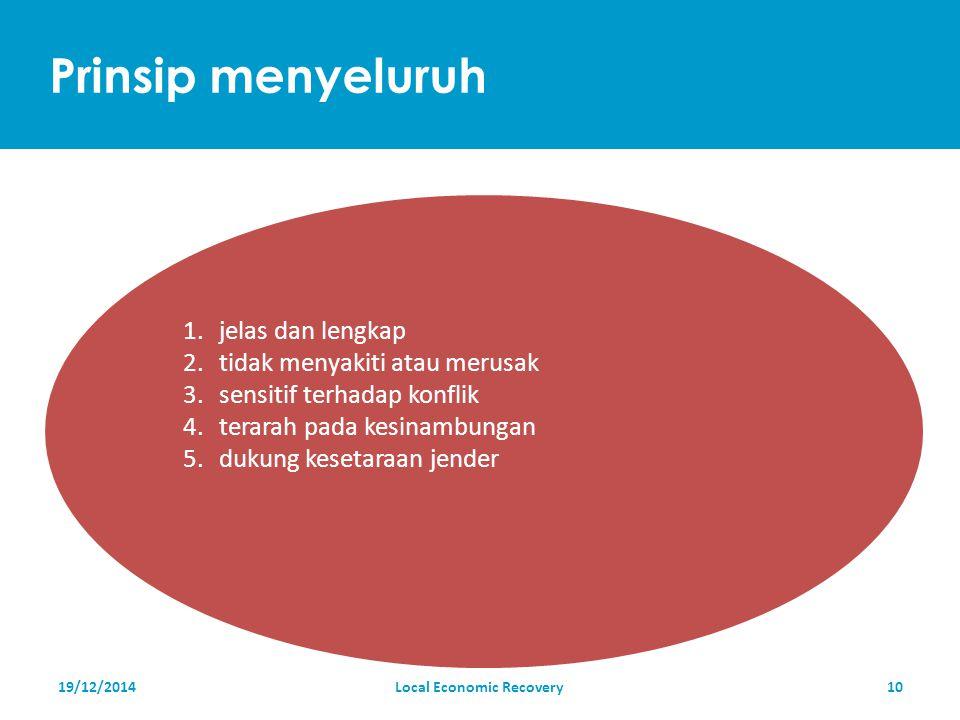 Prinsip menyeluruh 19/12/2014Local Economic Recovery10 1.jelas dan lengkap 2.tidak menyakiti atau merusak 3.sensitif terhadap konflik 4.terarah pada kesinambungan 5.dukung kesetaraan jender