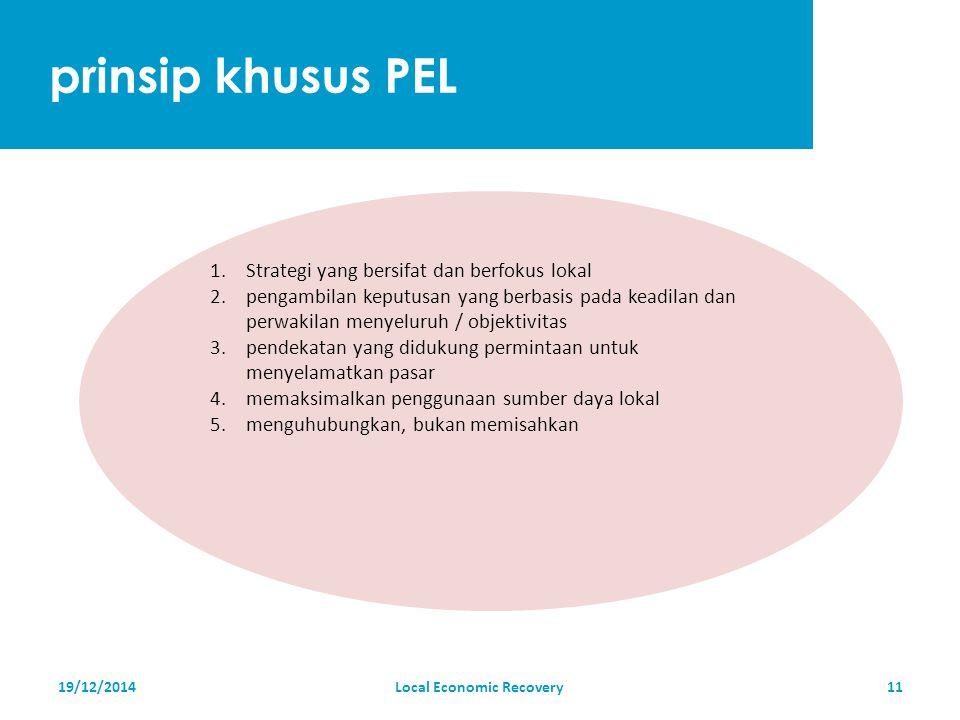 prinsip khusus PEL 19/12/2014Local Economic Recovery11 1.Strategi yang bersifat dan berfokus lokal 2.pengambilan keputusan yang berbasis pada keadilan dan perwakilan menyeluruh / objektivitas 3.pendekatan yang didukung permintaan untuk menyelamatkan pasar 4.memaksimalkan penggunaan sumber daya lokal 5.menguhubungkan, bukan memisahkan