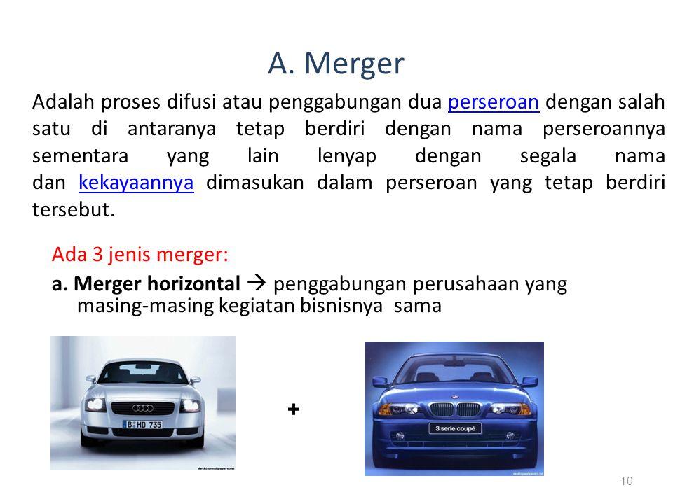 A. Merger Adalah proses difusi atau penggabungan dua perseroan dengan salah satu di antaranya tetap berdiri dengan nama perseroannya sementara yang la