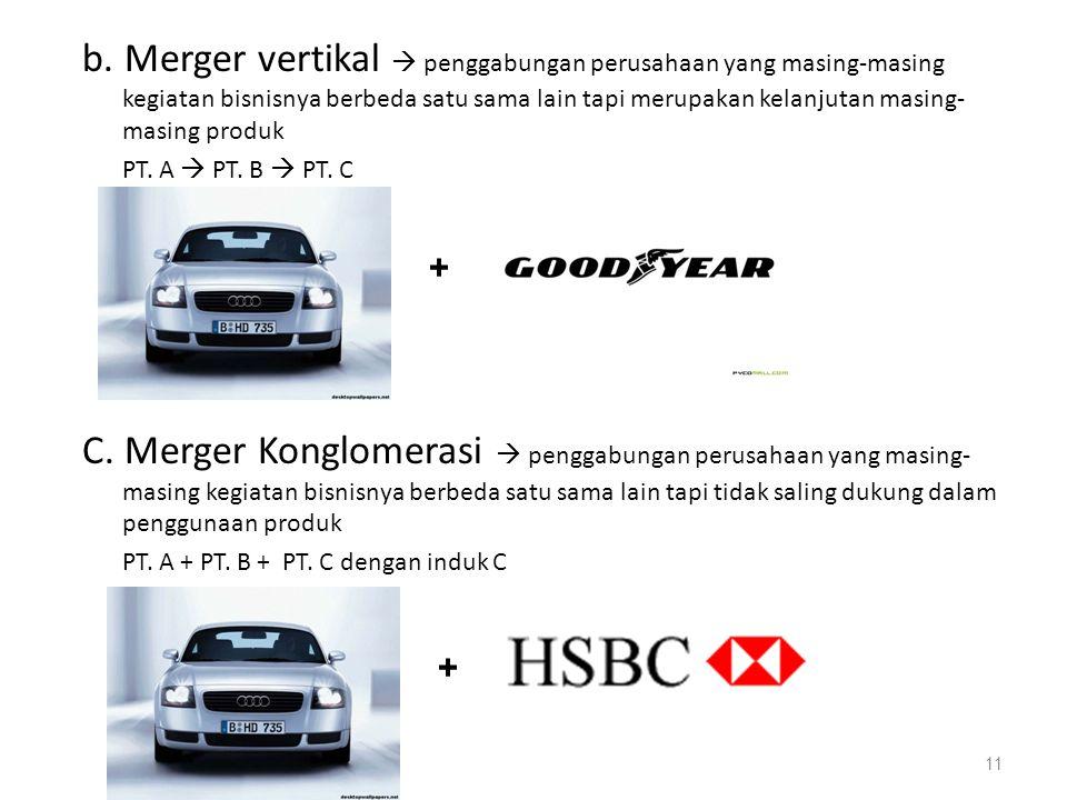 b. Merger vertikal  penggabungan perusahaan yang masing-masing kegiatan bisnisnya berbeda satu sama lain tapi merupakan kelanjutan masing- masing pro